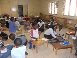 Paw Paw's busy classroom is also our training classroom for students in their practicum for a diploma in Montessori Early Childhood Education.