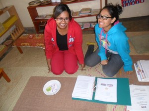Yumna and Azraa 2 practicing Montessori math! Ladies you are lovely!